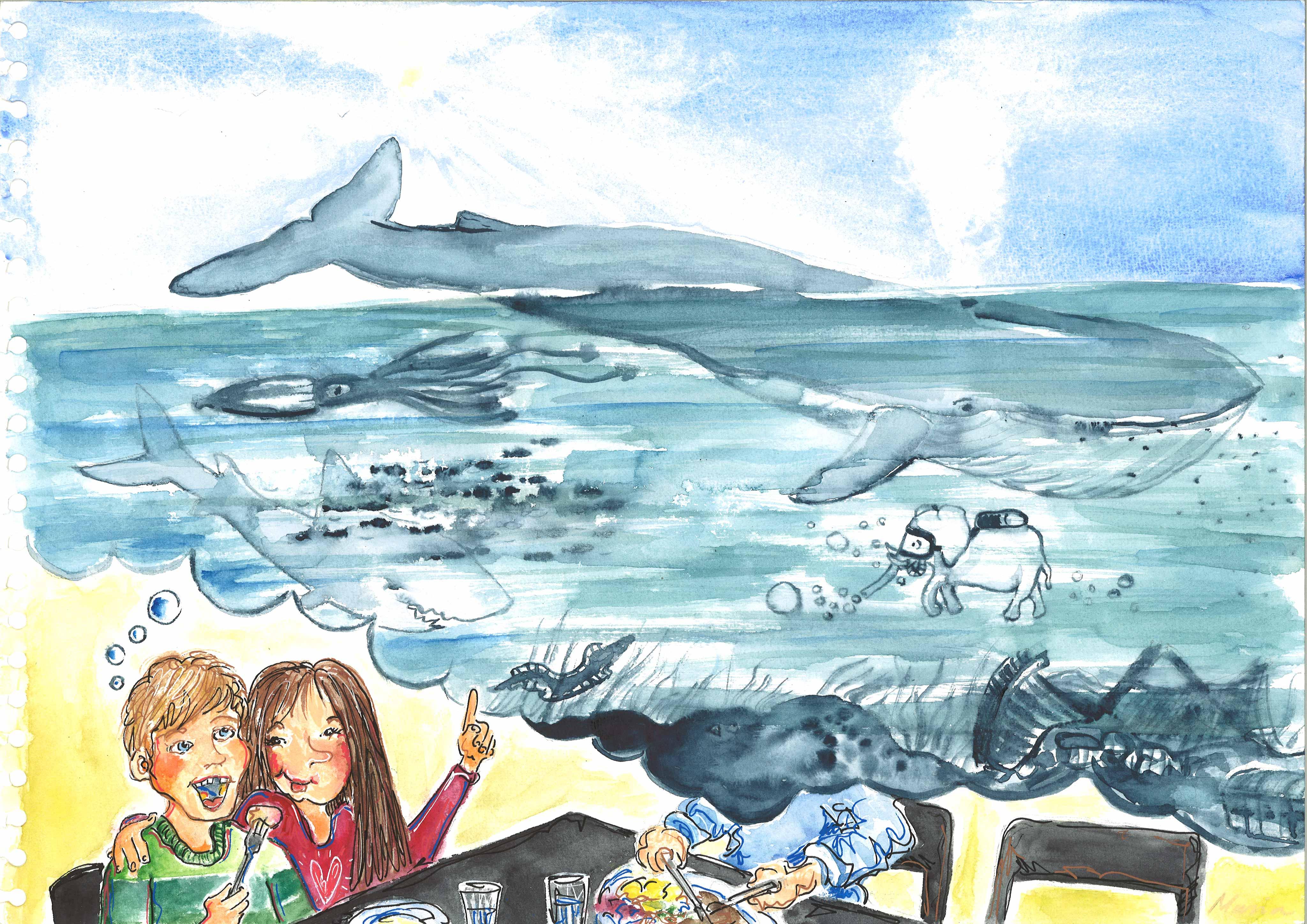 Hvem mætter blåhvalen - bordvers